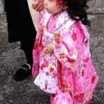 Święto Shichi-go-san - czy to prawdziwe włosy, czy dopinka? w każdym bądź razie, to różowe kimono to na pewno marzenie każdej trzylatki