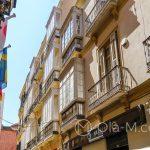 Malaga - Stare Miasto - charakterystyczne dla Malagi wykusze, taki rodzaj zabudowanych balkonów