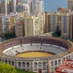 Andaluzja-Malaga - zabytkowa arena do walki byków - widok ze wzgórza Gibralfaro